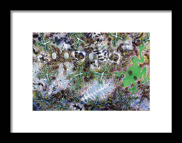 Framed Print featuring the painting Frogs And Scissors by Biagio Civale