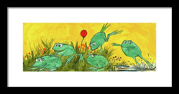 Framed Print featuring the painting Frogs by Charles Cater
