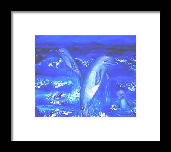 Dolphins Frolicking Ocean Blues Framed Print featuring the painting Frolicking Dolphins by Tanna Lee M Wells