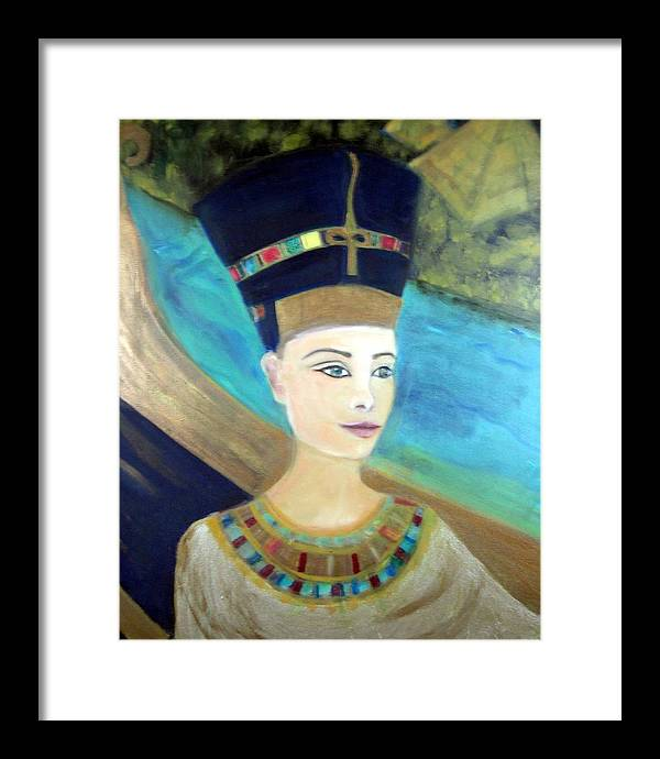 Egypt Framed Print featuring the painting From Darkness Sailed The Golden Barque by Michela Akers