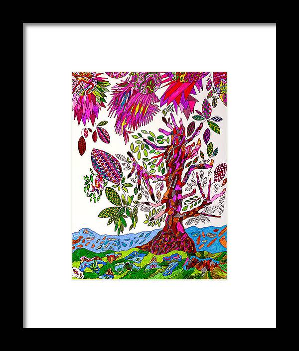 Tree Framed Print featuring the drawing From Heaven To Earth by Eric Devan