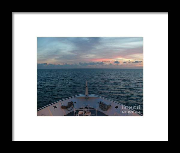 Sunset Framed Print featuring the photograph From The Bow by Florene Welebny