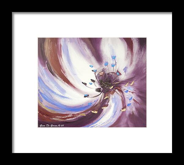 Brown Framed Print featuring the painting From The Heart Of A Flower Brown 2 by Gina De Gorna
