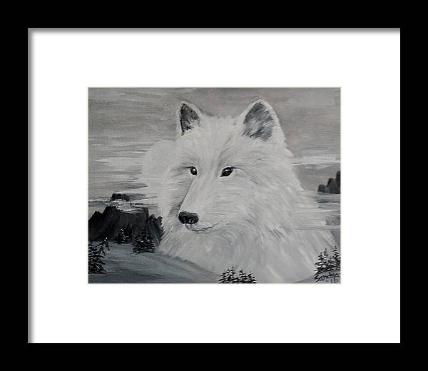 White Wolf Framed Print featuring the painting From The Mist Of The Moon by Sandra Maddox