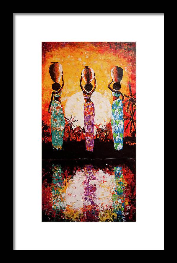 African Art Framed Print featuring the painting From The River by Jethro Longwe