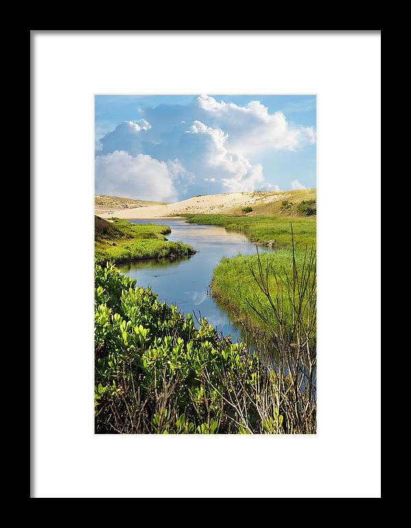 Clouds Framed Print featuring the photograph From The Sand Dunes To The Beach by Debra and Dave Vanderlaan