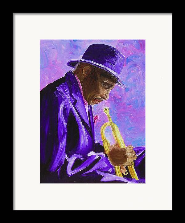 Street Musician Trumpet Player Framed Print featuring the painting From The Soul by Michael Lee