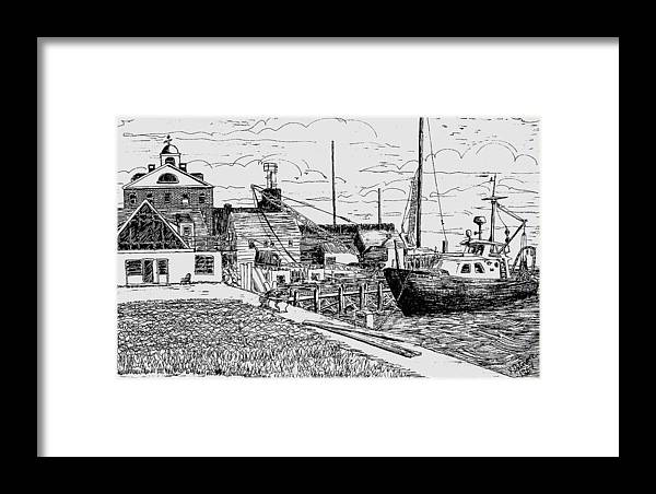 Woods Hole Framed Print featuring the drawing From The Sundial by Vic Delnore