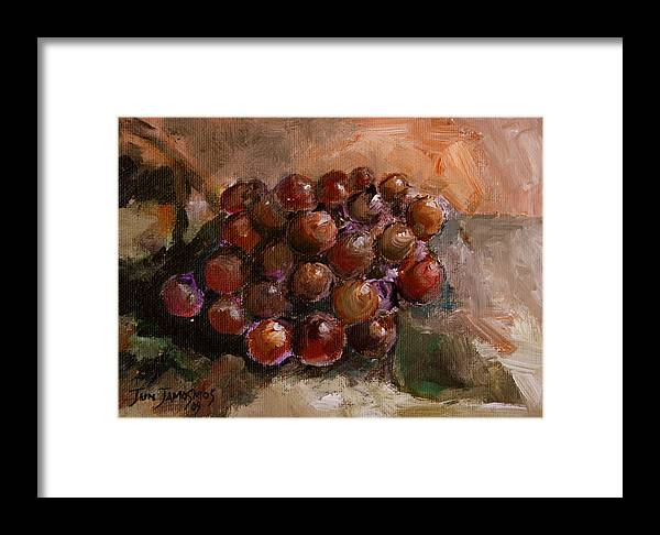 Grapes Framed Print featuring the painting From The Vine by Jun Jamosmos