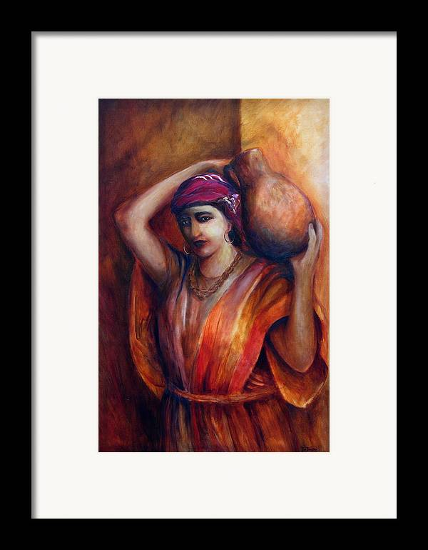 Rebekah Framed Print featuring the painting From The Well by Jun Jamosmos
