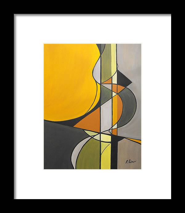 ruth Palmer Abstract Geometric Painting Acrylic Black Grey Green Orange Framed Print featuring the painting From Time To Time by Ruth Palmer