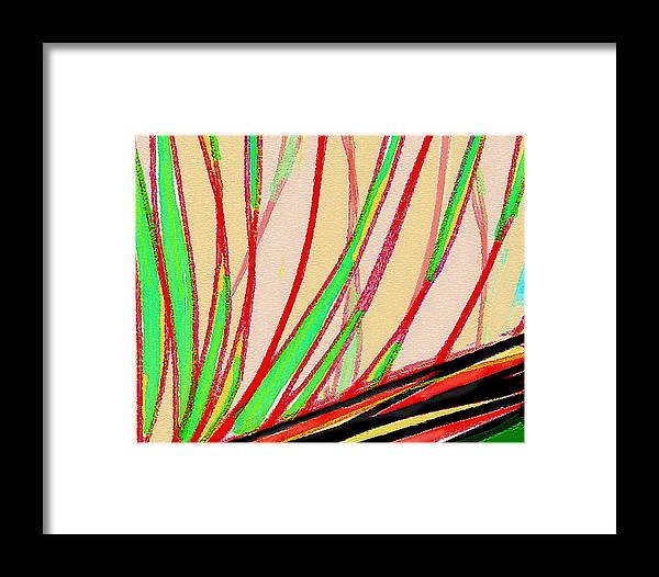 Abstract Framed Print featuring the painting Frond Craquelure by Paul Little