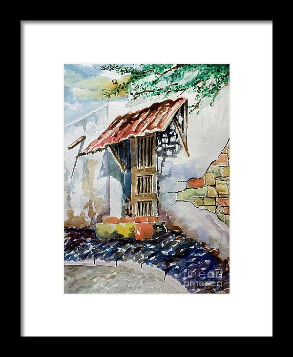 Mexican Doorway Painting Framed Print featuring the painting Front Door by Kandyce Waltensperger