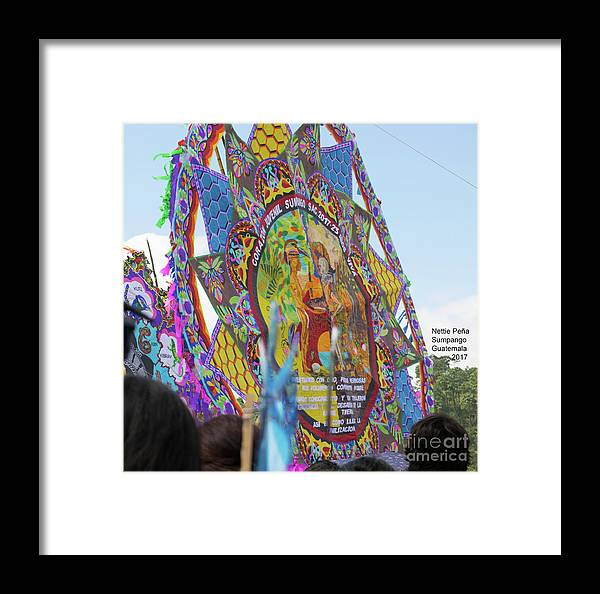 Sumpango Giant Kite Festival Framed Print featuring the photograph Mayans And Conquistador Giant Kite by Nettie Pena
