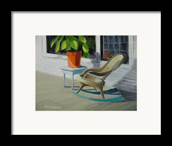 Wicker Framed Print featuring the painting Front Porch Memories by Robert Rohrich