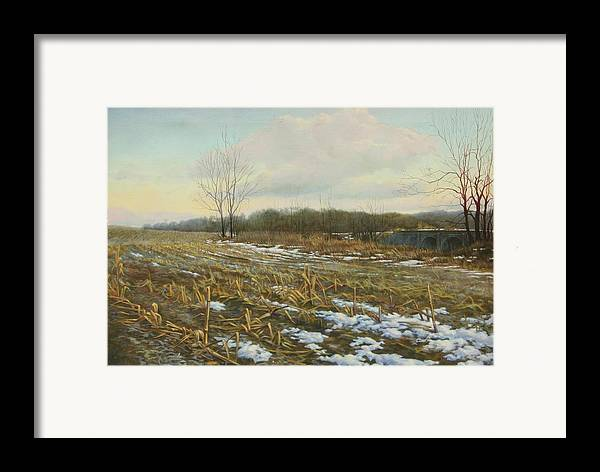 Landscape Framed Print featuring the painting Frost by Stephen Bluto