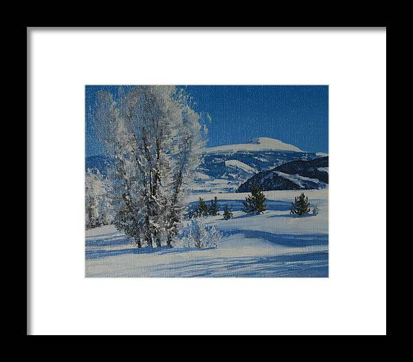 Landscape Framed Print featuring the painting Frost Tapestry by Lanny Grant