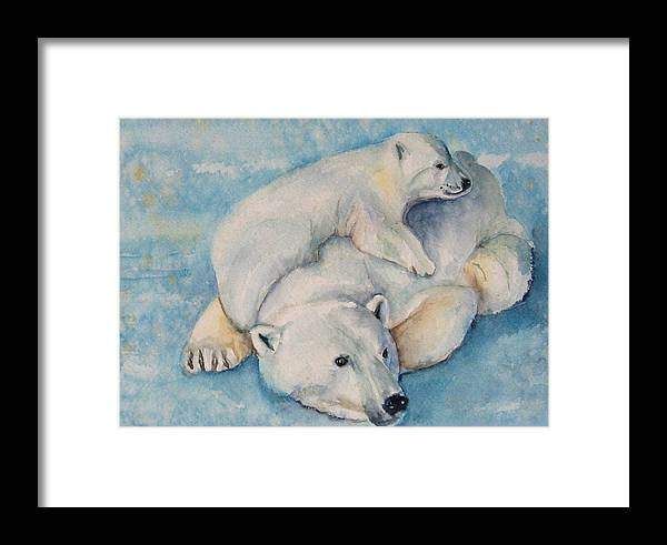 Polar Bears Framed Print featuring the painting Frosty Baby by Gina Hall