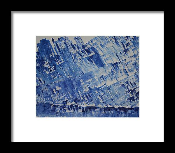 Framed Print featuring the painting Frozen City by Prakash Bal Joshi