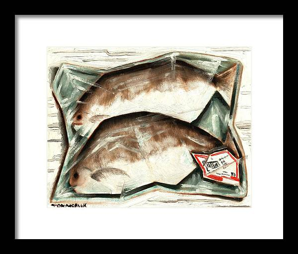 Fish Framed Print featuring the painting Frozen Fish Art Print by Tommervik