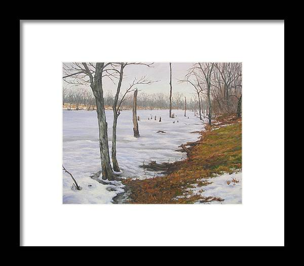 Landscape Framed Print featuring the painting Frozen Lake by Stephen Howell