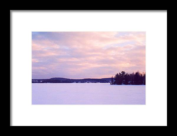 Landscape Framed Print featuring the photograph Frozen Lake Sunset by Lyle Crump