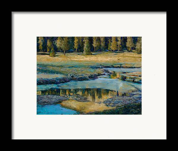 River Framed Print featuring the painting Frozen Reflections by Billie Colson