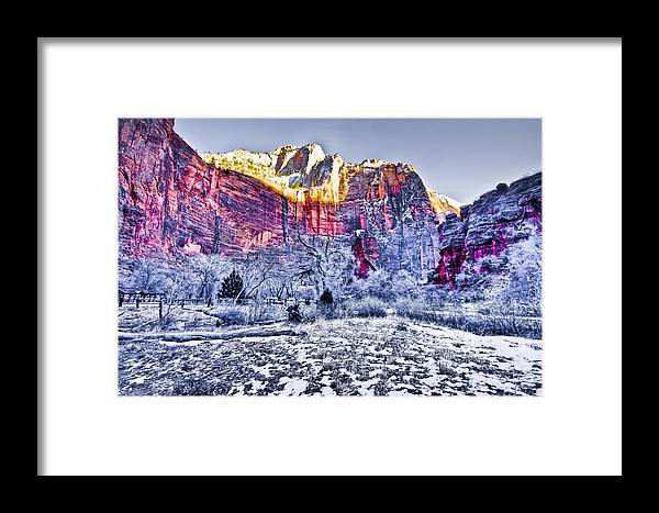 Landscape Framed Print featuring the digital art Frozen Zion by Ches Black