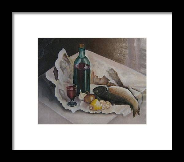 Still Life Framed Print featuring the painting Frugal Meal by Netka Dimoska