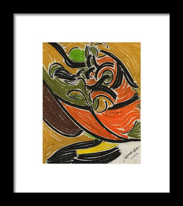 Fruit Abstract Painting Framed Print featuring the pastel Fruit Filled Basket by Diallo House