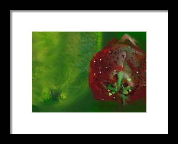 Red Framed Print featuring the digital art Fruit II by Jessica Mason