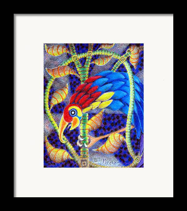 Semi-abstract Framed Print featuring the painting Fruit Of The Rain Forest by Bill Meeker
