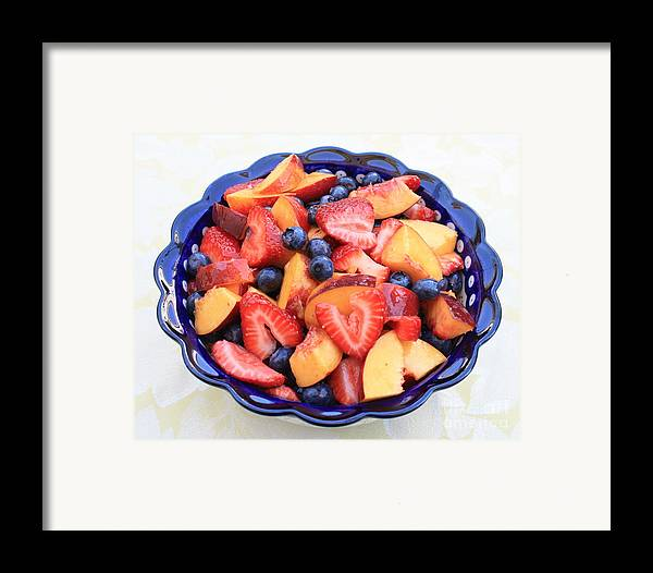 Food And Beverages Framed Print featuring the photograph Fruit Salad In Blue Bowl by Carol Groenen