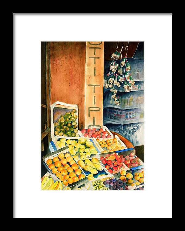 Fruit Shop Window Framed Print featuring the painting Fruit Shop in San Gimignano by Judy Swerlick