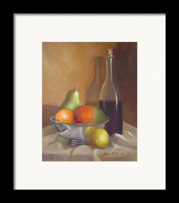 Still Life Framed Print featuring the painting Fruit With Bottle Of Wine by Joni Dipirro