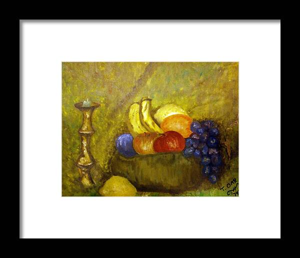 Still Life Framed Print featuring the painting Fruitbowl And Candle by Tammera Malicki-Wong
