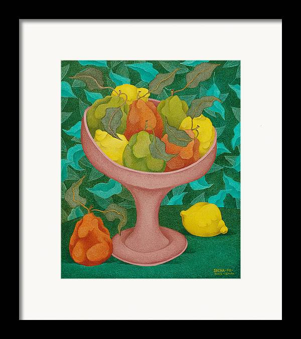 Sacha Circulism Circulismo Framed Print featuring the painting Fruits  2008 by S A C H A - Circulism Technique