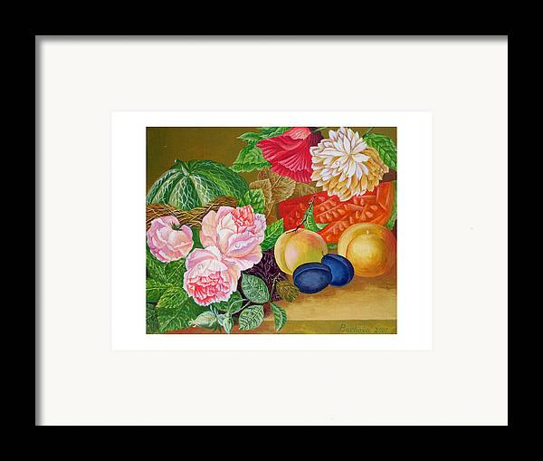Still Life Framed Print featuring the painting Fruits And Flowers .2006 by Natalia Piacheva