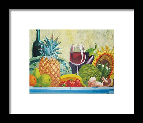 Pineapple Framed Print featuring the painting Fruits And Vegetables by D T LaVercombe