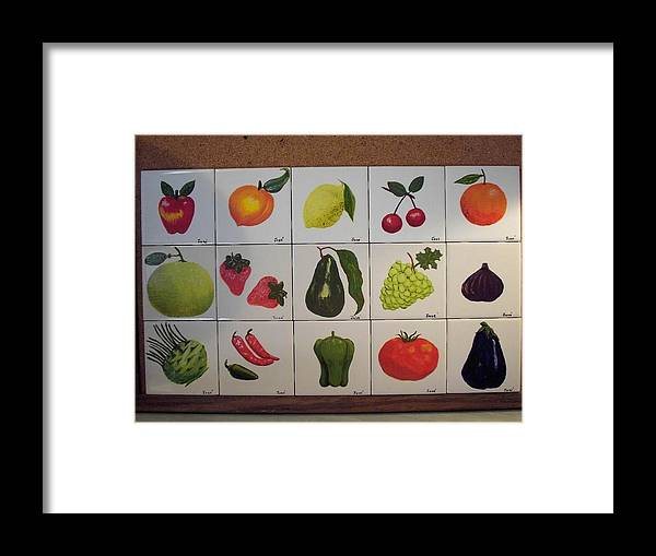 Ceramic Tile Framed Print featuring the ceramic art Fruits And Vegetables by Hilda and Jose Garrancho