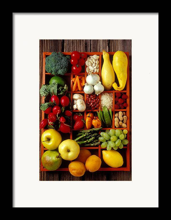 Fruits Vegetables Apples Grapes Compartments Framed Print featuring the photograph Fruits And Vegetables In Compartments by Garry Gay