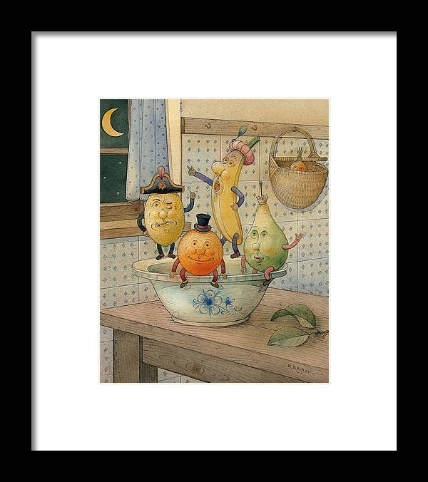 Night Moon Fruits Kitchen Framed Print featuring the painting Fruits by Kestutis Kasparavicius
