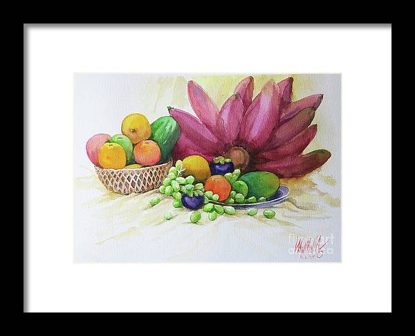Landscape Framed Print featuring the painting Fruits by Win Min Mg