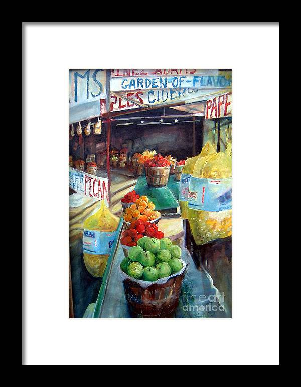Fruit Framed Print featuring the painting Fruitstand Rhythms by Linda Shackelford