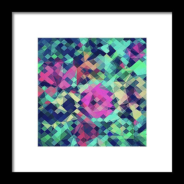 Abstract Framed Print featuring the digital art Fruity Rose  Fancy Colorful Abstraction Pattern Design Green Pink Blue by Philipp Rietz