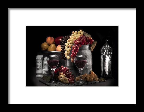 Antique Framed Print featuring the photograph Fruity Wine Still Life Selective Coloring by Tom Mc Nemar
