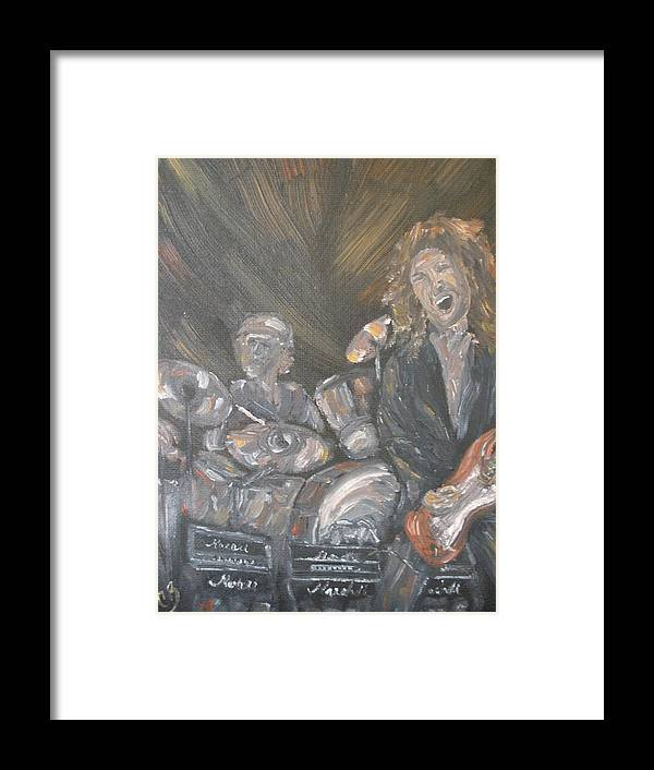 Rock Band Framed Print featuring the painting Frusciante by Carrie Mayotte