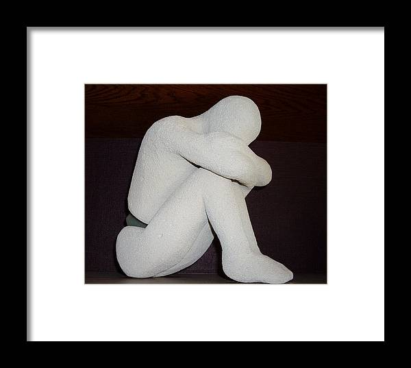 Seated Figure Broken Girl Framed Print featuring the mixed media Frustration by Sally Van Driest