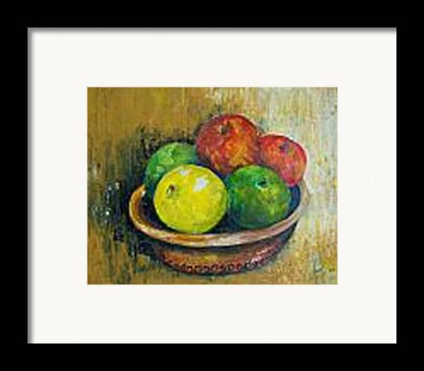 Apples And Oranges Framed Print featuring the painting Frutas by Carol P Kingsley