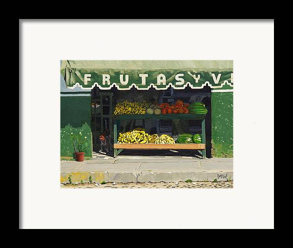 Market In Puerto Vallarta Mexico. Dog Added. Framed Print featuring the painting Frutas Y by Michael Ward